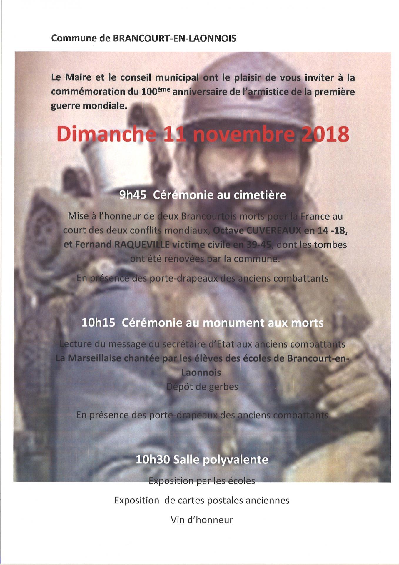 11 novembre 18 invitation